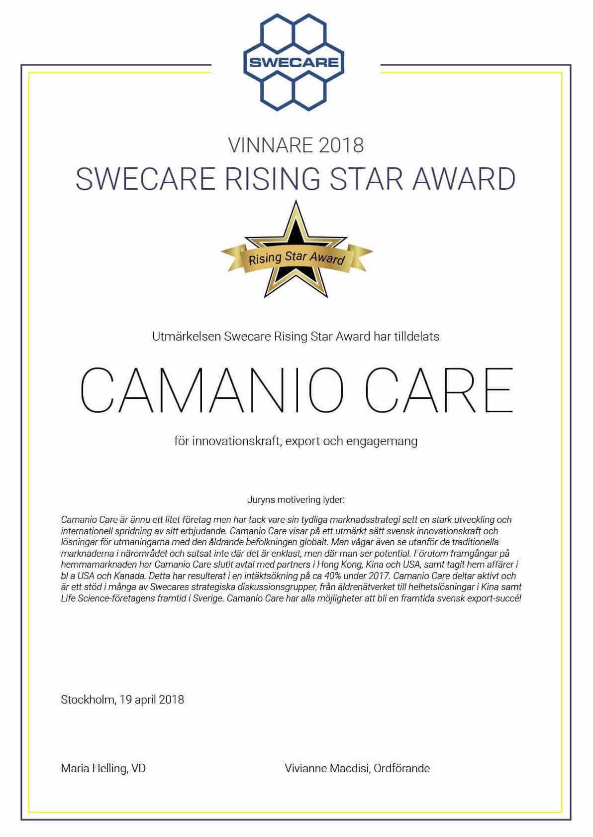 Rising star award 2018 vinnande diplom för Camanio Care